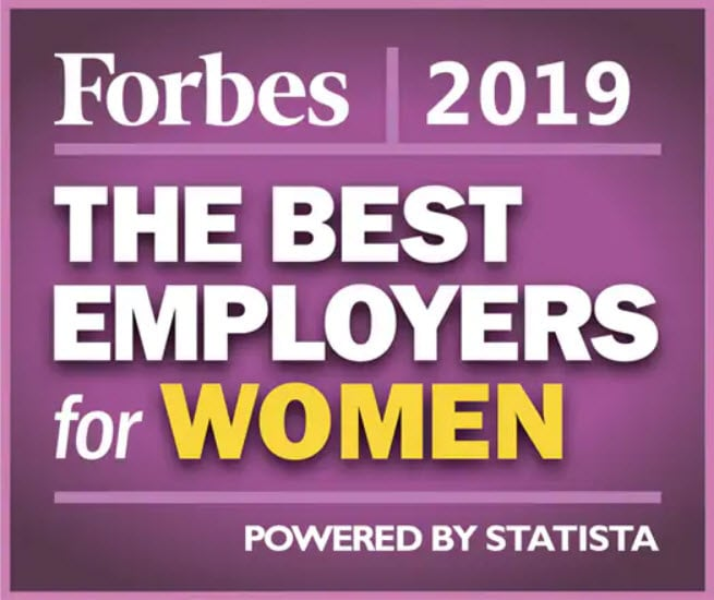 Forbes 2019 The Best Employers for Women Award logo