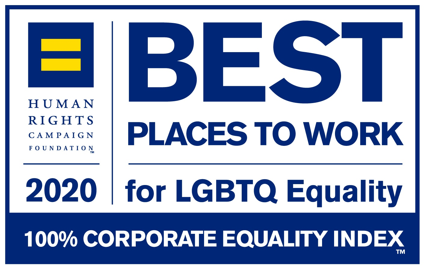 HRC Best Places to Work 2020 badge