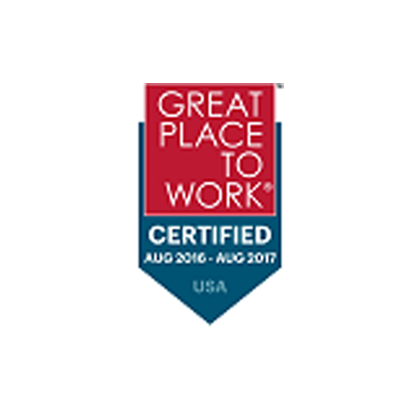 Great place to work certified August 2016 - August 2017