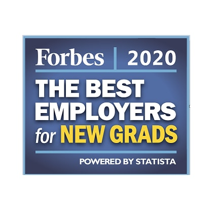Forbes Best Employer for New Grads 2020 badge