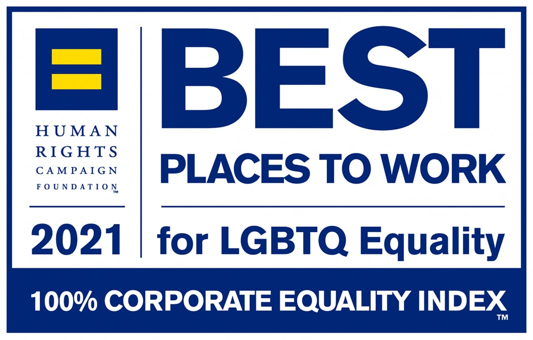 HRC Best Places to Work for LGBTQ 2021 badge