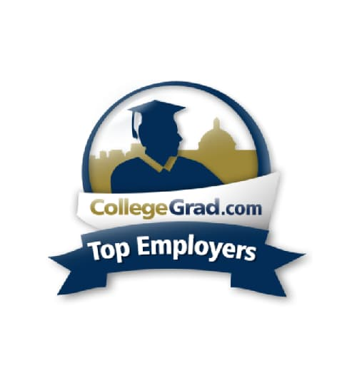 Illustration of a graduate in a cap and gown - CollegeGrad.com Top Employers logo