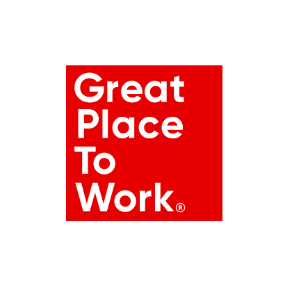 Great Places to Work logo - red background, white text