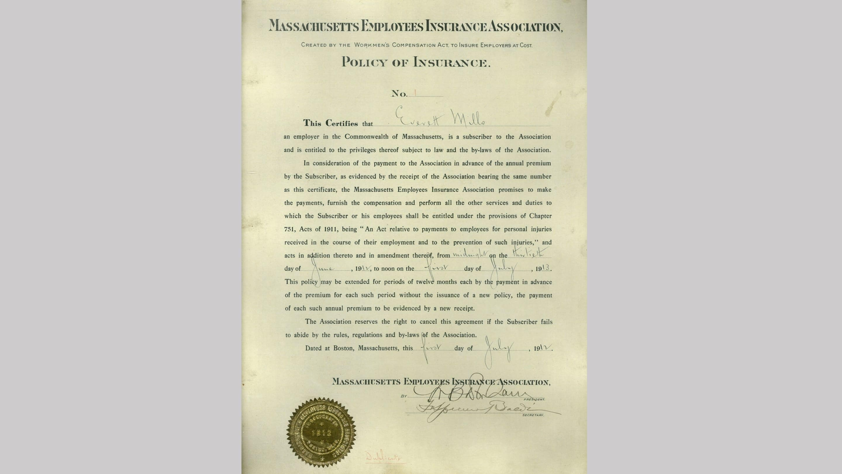 (slide 1 of 12) First insurance policy from 1912 .