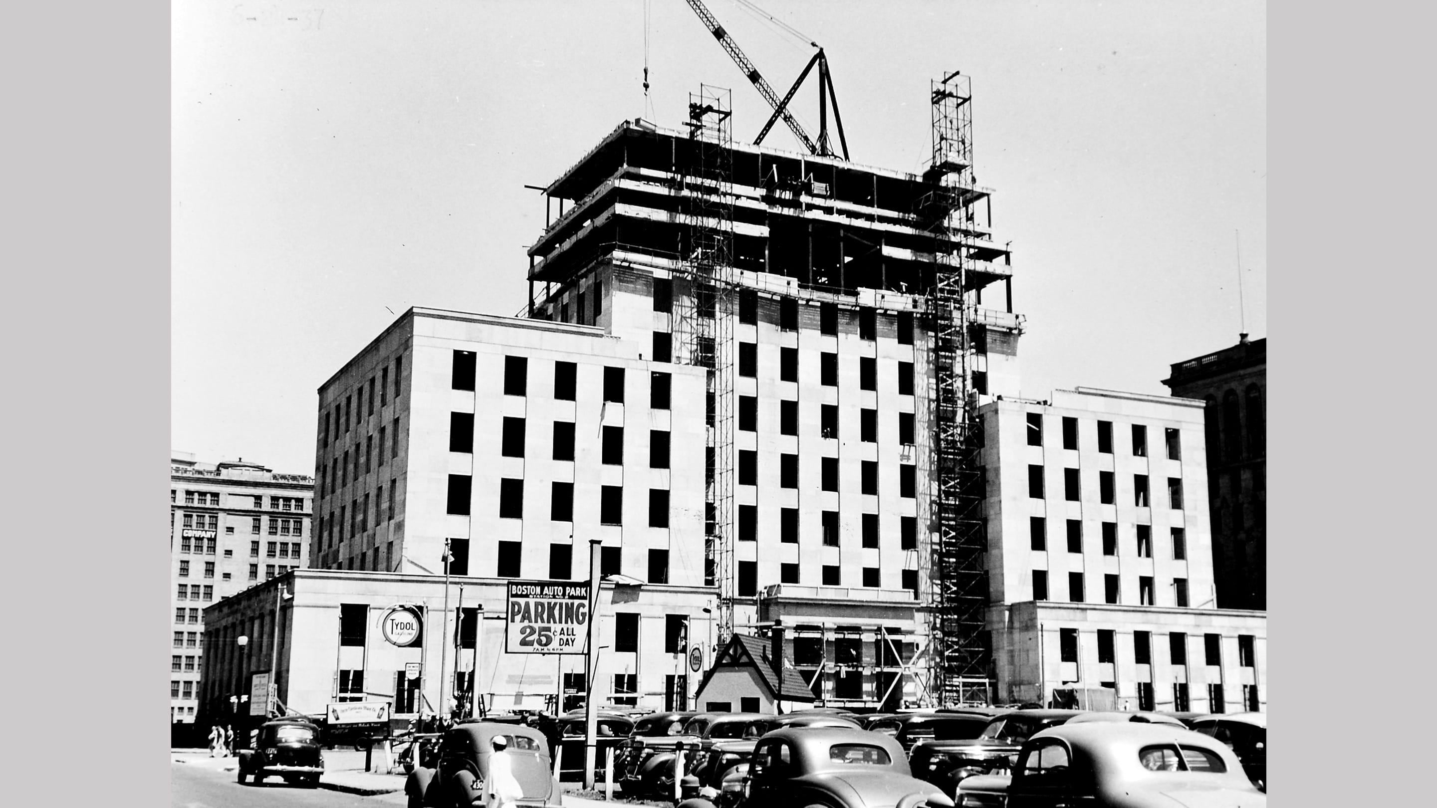 (slide 4 of 12) The construction of 175 Berkeley st. Boston office in the 1930's.