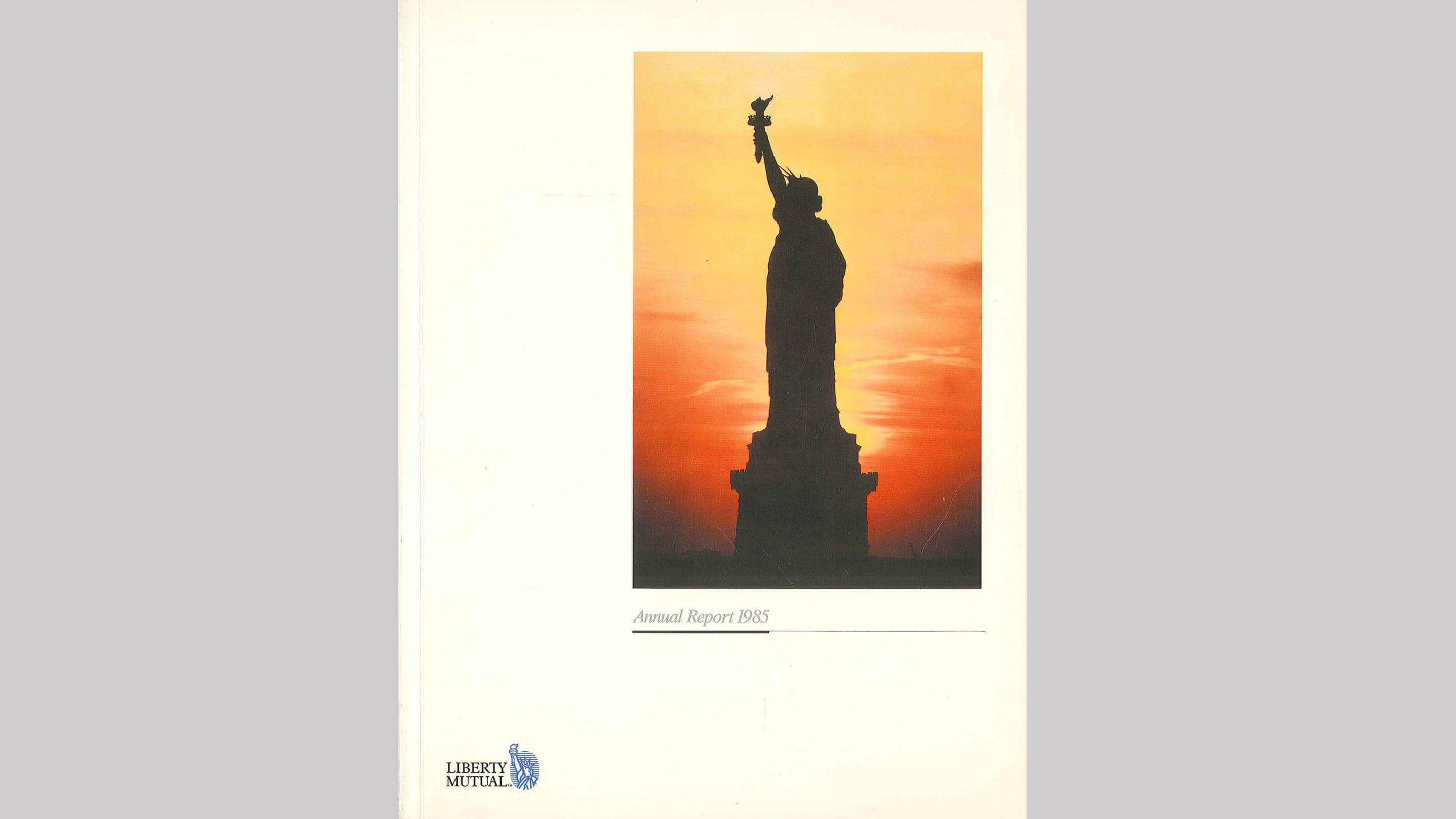 (slide 9 of 12) A 1985 annual report cover by Liberty Mutual Insurance .