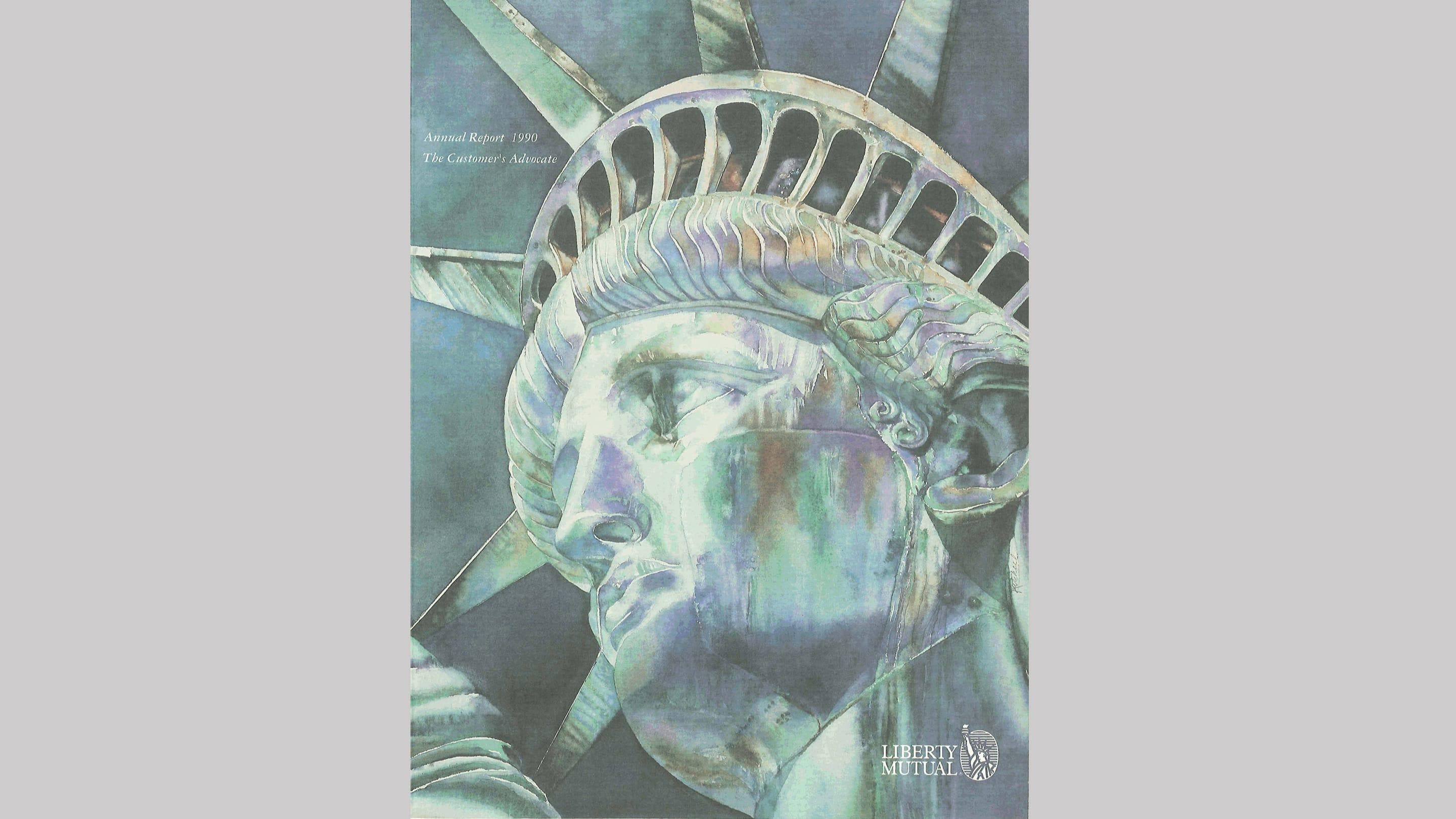 (slide 10 of 12) A 1990 annual report cover by Liberty Mutual Insurance featuring a close up of the statue of liberty's face .