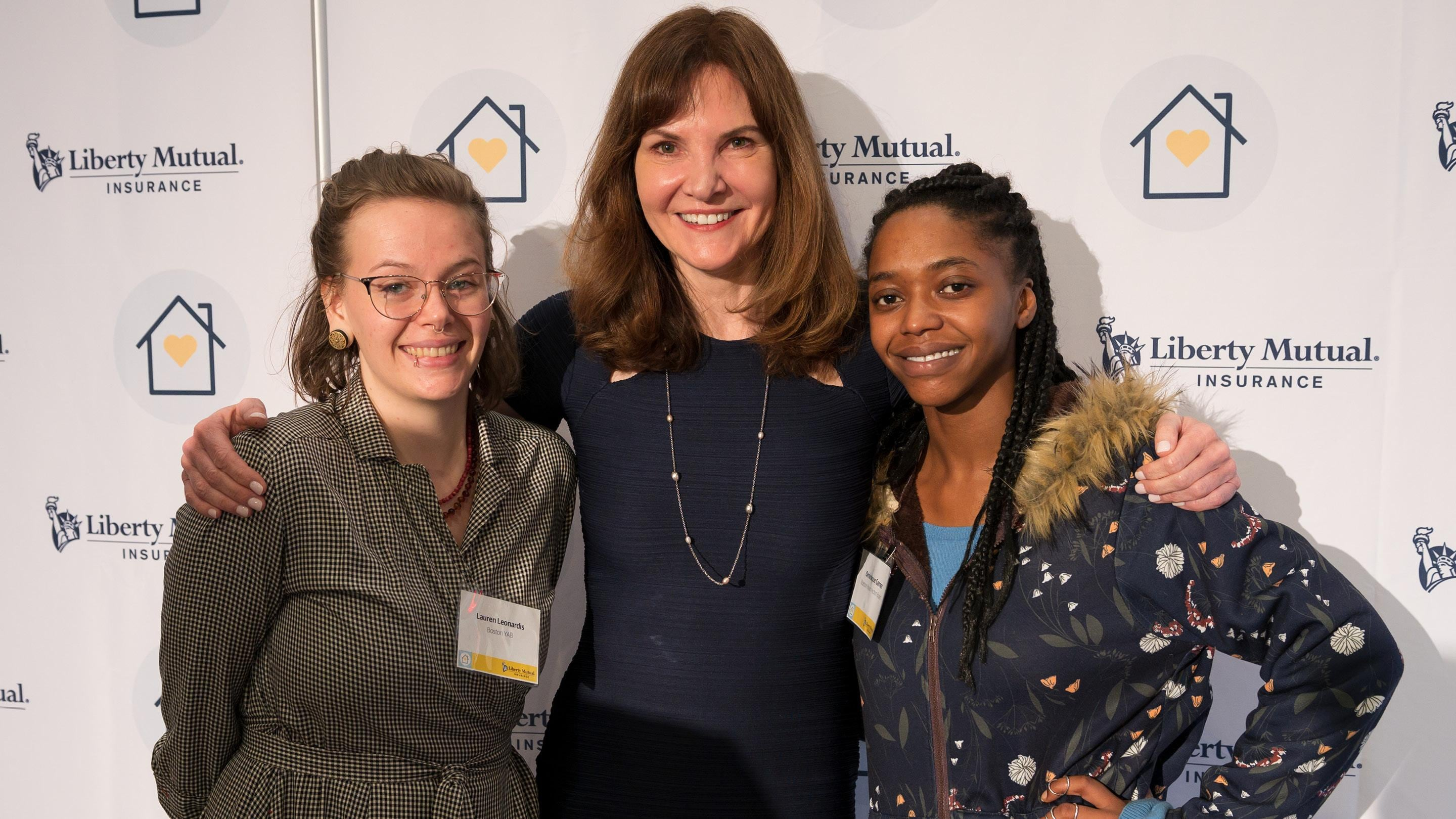(slide 4 of 5) Image of Melissa with Lauren Leonardis and Ominique Garner both members of Boston Youth Action Board..