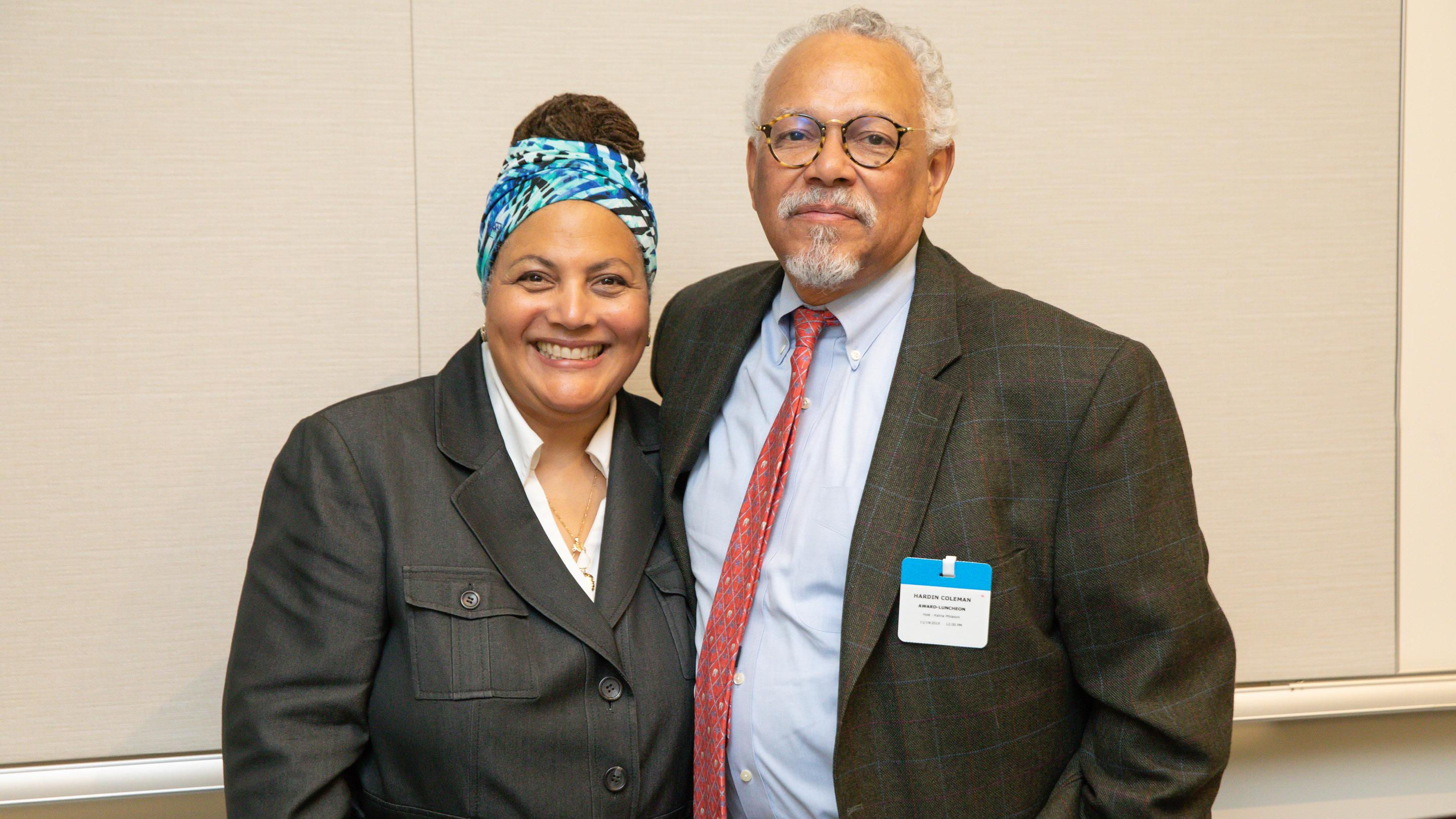(slide 3 of 5) Image of Klare Shaw, national director of programs, Liberty Mutual Foundation and Dr. Hardin Coleman, dean emeritus and professor of counseling and applied human development, Boston University.
