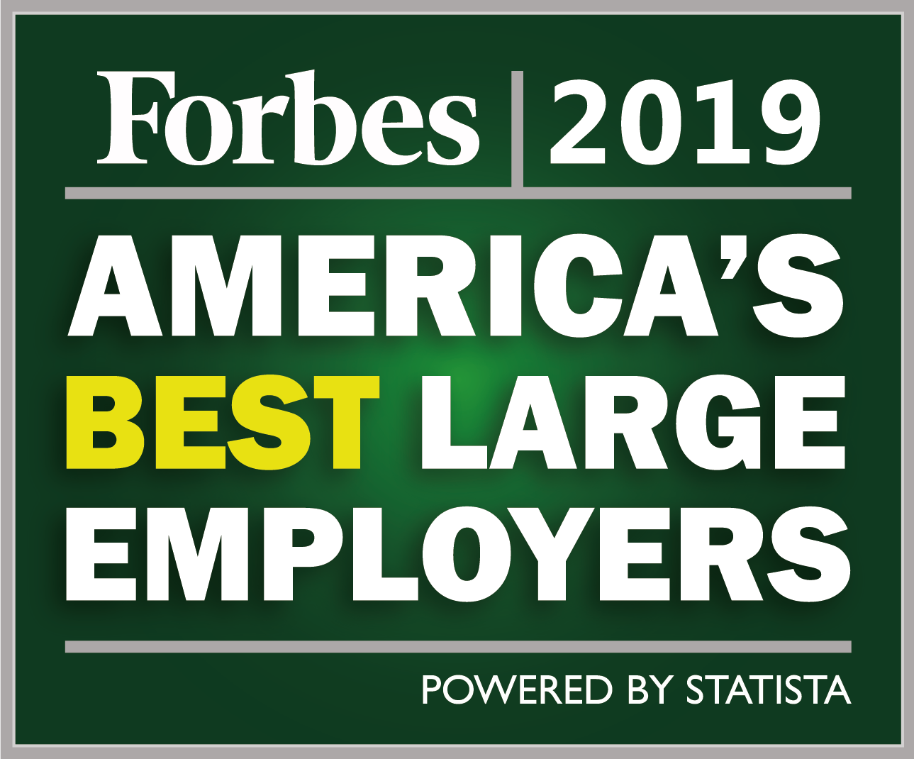 Forbes 2019 America's Best Large Employers badge